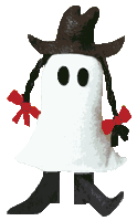 Boo! is a plush ghost doll with braids, cool boots, and a cowboy hat